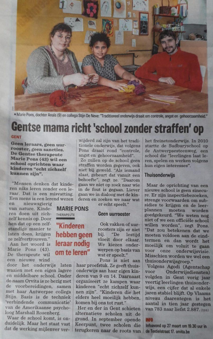 Orvita - De Gentenaar / Het nieuwsblad - 21 januari 2020